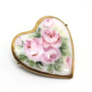 🆕Vintage Porcelain & Gold Rose Heart Pin